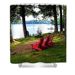 Shower Curtain featuring the photograph A View Of Big Moose Lake by David Patterson