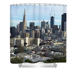 Shower Curtain featuring the photograph A View Of Downtown From Nob Hill by Steven Spak