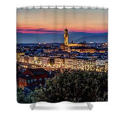 A View Of Florence Shower Curtain by Brent Durken