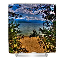 A View Of The Lake Shower Curtain by David Patterson