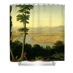 A View Of The Tiber And The Roman Campagna From Monte Mario Shower Curtain by William Linton