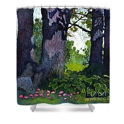 A View Through The Trees Watercolor Batik Shower Curtain