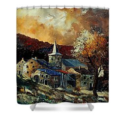 A Village In Autumn Shower Curtain by Pol Ledent
