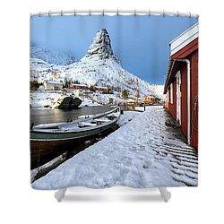 Shower Curtain featuring the photograph A Village Lofoten by Dubi Roman