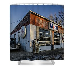 A Vintage Gas Station And Vintage Cars In Early Morning Light Shower Curtain