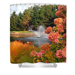 Shower Curtain featuring the photograph A Vision Of Autumn by Teresa Schomig