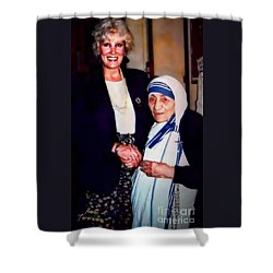 Shower Curtain featuring the digital art A Vist With Mother Teresa by Kathy Tarochione