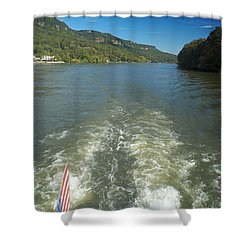 A Wake, River And Sky Col Shower Curtain