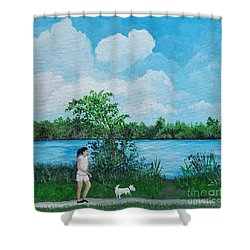 A Walk Along The River Shower Curtain