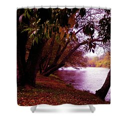 A Walk By The River Shower Curtain