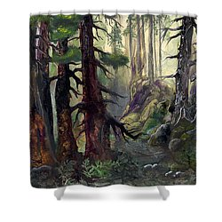Shower Curtain featuring the painting A Walk In The Woods by Sherry Shipley