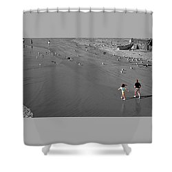A Walk On The Beach With Dad Shower Curtain