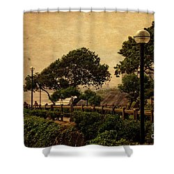 Shower Curtain featuring the photograph A Walk On The Edge - Peru by Mary Machare