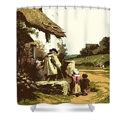 Shower Curtain featuring the drawing A Walk With The Grand Kids by Digital Art Cafe