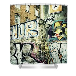 A Wall Of Berlin With Graffiti Shower Curtain