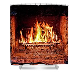 A Warm Hearth Shower Curtain