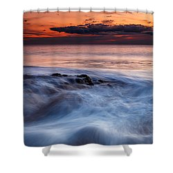 A Wave At Sunset Shower Curtain