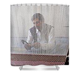 A Weaver Weaves A Carpet. Shower Curtain