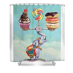 Shower Curtain featuring the painting A Well-balanced Diet by Linda Apple