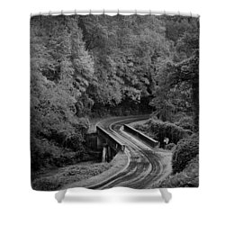 Shower Curtain featuring the photograph A Wet And Twisty Road Through The Blue Ridge Mountains In Black And White by Kelly Hazel