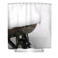 Shower Curtain featuring the photograph A Wheel Barrel Of Snow by Paul SEQUENCE Ferguson             sequence dot net