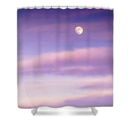 A White Moon In Twilight Shower Curtain