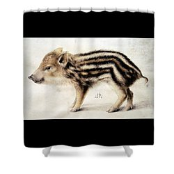 A Wild Boar Piglet Shower Curtain by Hans Hoffmann