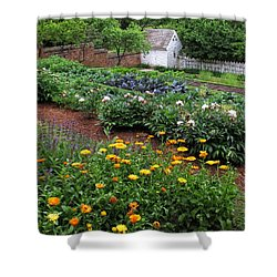 A Williamsburg Garden Shower Curtain by Dave Mills