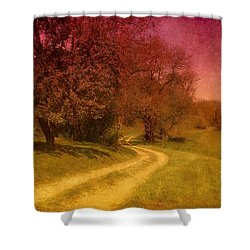 A Winding Road - Bayonet Farm Shower Curtain by Angie Tirado