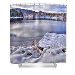 Shower Curtain featuring the photograph A Winter Day On West Lake by David Patterson