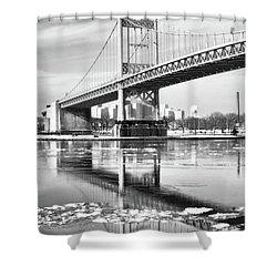 A Winter Portrait Of The Triboro Bridge Shower Curtain