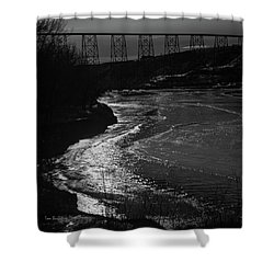 A Winter River Shower Curtain