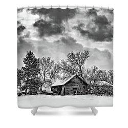 A Winter Sky Monochrome Shower Curtain by Steve Harrington