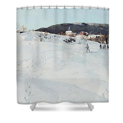 A Winter's Day In Norway Shower Curtain by Fritz Thaulow