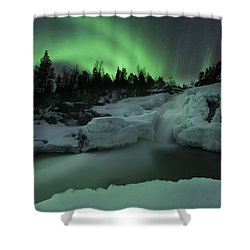 Shower Curtain featuring the photograph A Wintery Waterfall And Aurora Borealis by Arild Heitmann