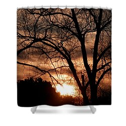 A Wisconsin Sunset Shower Curtain by William Presley