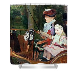 A Woman And Child In The Driving Seat Shower Curtain by Mary Stevenson Cassatt