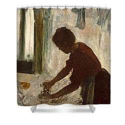 Shower Curtain featuring the painting A Woman Ironing by Edgar Degas