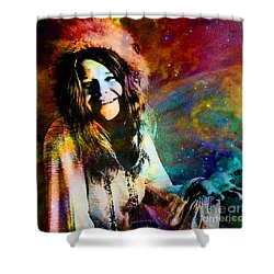 A Woman Of 1970 Rock And Roll Shower Curtain by Annie Zeno