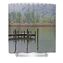 A Wooden Pier At A Small Lake Shower Curtain by Joana Kruse