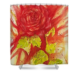 Shower Curtain featuring the painting A Wounded Rose by Kathleen Pio