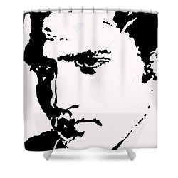 Shower Curtain featuring the drawing A Young Elvis by Robert Margetts
