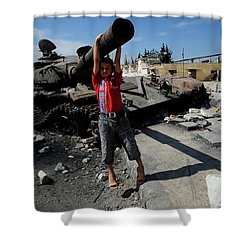 A Young Syrian Boy Plays On The Turret Shower Curtain by Andrew Chittock