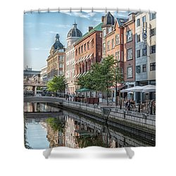 Shower Curtain featuring the photograph Aarhus Afternoon Canal Scene by Antony McAulay