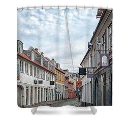 Shower Curtain featuring the photograph Aarhus Backstreet Scene by Antony McAulay