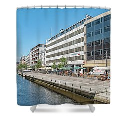 Shower Curtain featuring the photograph Aarhus Canal Activity by Antony McAulay
