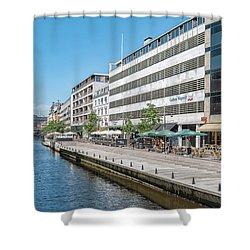 Shower Curtain featuring the photograph Aarhus Canal Scene by Antony McAulay