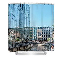 Shower Curtain featuring the photograph Aarhus Lunchtime Canal Scene by Antony McAulay