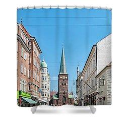 Shower Curtain featuring the photograph Aarhus Street Scene by Antony McAulay