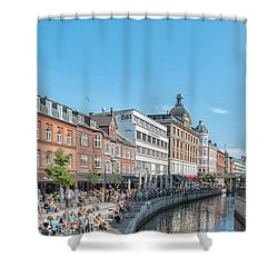 Shower Curtain featuring the photograph Aarhus Summertime Canal Scene by Antony McAulay